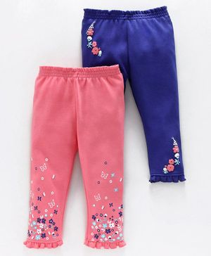 Babyoye Cotton Leggings Floral Print Pack of 2 - Blue Pink