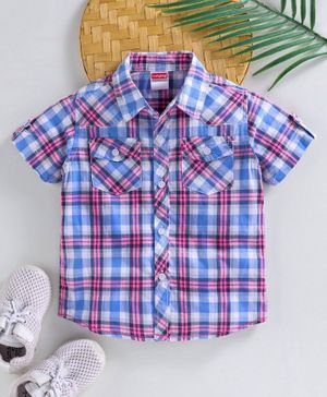 Babyhug Half Sleeves Shirt Checked - Blue Pink