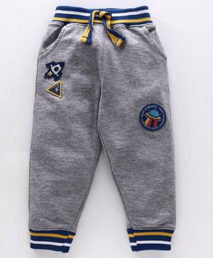 Babyhug Full Length Lounge Pants Spaceship Patch - Grey
