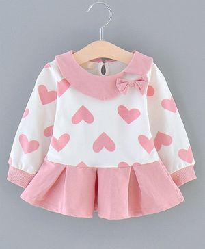 Pre Order - Awabox Heart Printed Full Sleeves Box Pleated Dress - Light Pink