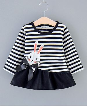 Pre Order - Awabox Bunny Applique Full Sleeves Striped Dress - Black