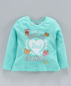 Ollypop Full Sleeves Top Best Grandpa Print - Sea Green