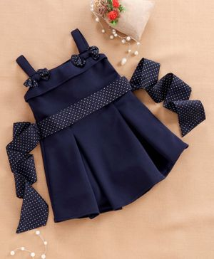 Babyhug Sleeveless Frock with Bow Applique - Navy