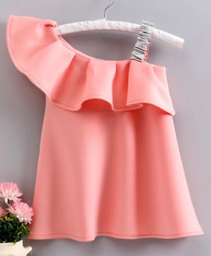 Babyhug One Shoulder Flutter Sleeves Frock - Pink