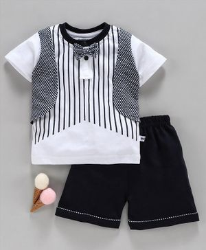 Mini Taurus Half Sleeves Striped Tee Shorts with Mock Jacket & Bow with  - White Navy Blue