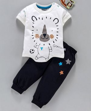 Mini Taurus Half Sleeves Tee & Lounge Pant Lion Print - White Navy Blue