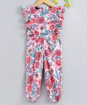 Pspeaches Floral Print Cap Sleeves Jumpsuit - Light Pink