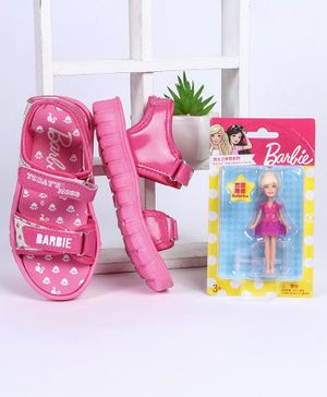 Barbie Sandals With Free Doll (Assorted Doll Design) - Pink
