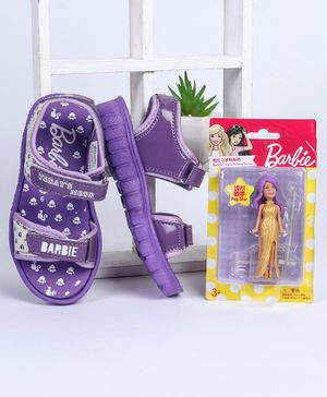 Barbie Sandals With Free Doll (Assorted Doll Design) - Purple