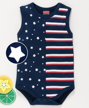 Babyhug Sleeveless Onesie Star Print - Blue