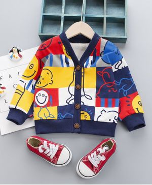 Pre Order - Awabox Boy Print Full Sleeves Cardigan Jacket - Blue