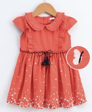 Babyoye Cotton Cap Sleeves Frock with Drawstring Bunny & Floral Print - Coral