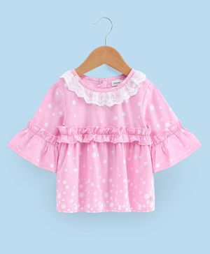 Babyoye Three Fourth Sleeves Cotton Top - Light Pink