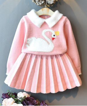 Pre Order - Awabox Swan Design Full Sleeves Sweater With Pleated Skirt Set - Pink