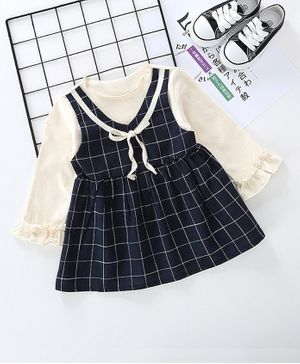 Pre Order - Awabox Full Sleeves Pinafore Style Checked Dress - Navy Blue