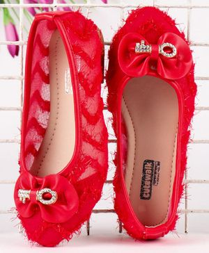 Cute Walk by Babyhug Party Wear Belly Shoes with Bow Applique - Red