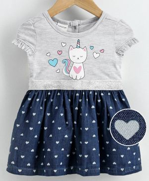 Babyoye Cotton Short Sleeves Frock  Heart Print - Navy Grey