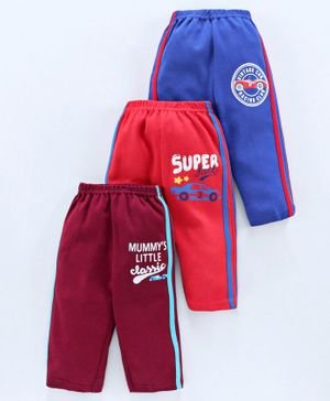 Zero Full Length Track Pants Text Print Pack of 3 - Red Blue Maroon