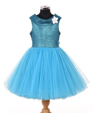Indian Tutu Sleeveless Shimmery Netted Fit & Flare Dress - Blue