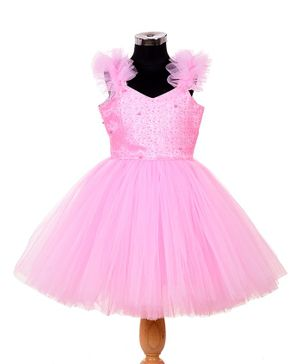 Indian Tutu Embroidered Beaded Sleeveless Fit & Flare Frill Netted Dress - Pink