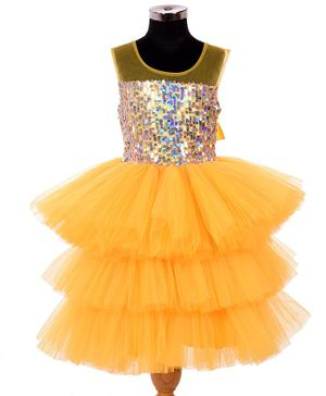 Indian Tutu Sleeveless Sequined Layered Netted Fit & Flare Dress - Yellow