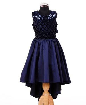Indian Tutu Sleeveless Sequined High Low Dress - Navy Blue