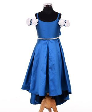 Indian Tutu Flower Applique High Low Cap Sleeves Fit & Flare Sleeveless Gown  - Royal Blue