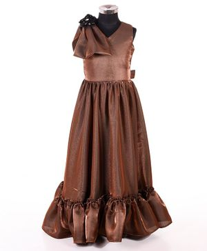 Indian Tutu Sleeveless Bow Applique Shimmery Gown - Brown