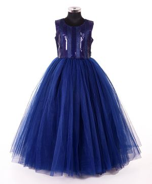 Indian Tutu Sleeveless Sequined Fit & Flare Netted Gown  - Navy Blue