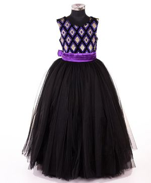 Indian Tutu Sleeveless Sequined Fit & Flare Netted Gown - Black