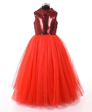 Indian Tutu Sleeveless Sequined Fit & Flare Tulle Gown  - Red
