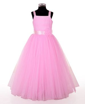 Indian Tutu Sleeveless Flower Applique Fit & Flare Tulle Gown - Pink