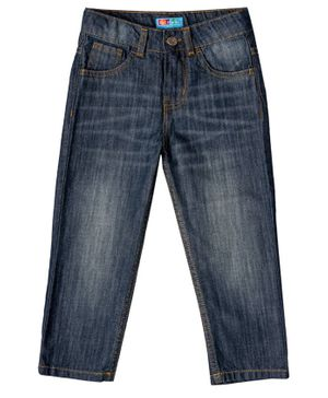 Kid Studio Shaded Front Pocket Full Length Jeans - Blue