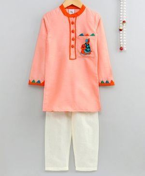 Little Pockets Store Turtle Embroidered Full Sleeves Kurta With Pyjama - Peach