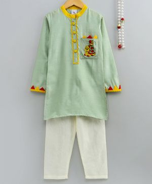 Little Pockets Store Turtle Embroidered Full Sleeves Kurta With Pyjama - Green