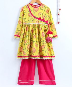 Little Pockets Store Floral Print Anarkali Kurti With Palazzo - Yellow