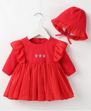 Pre Order - Awabox Embroidered Full Sleeves Onesie With Cap - Red