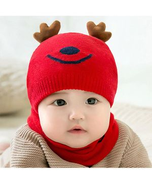 Ziory Woolen Cap And Scarf - Red