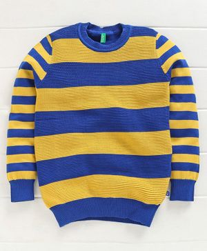 UCB Full Sleeves Striped Sweater - Blue Yellow
