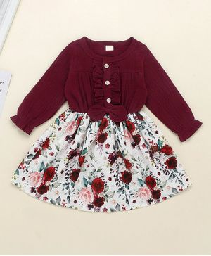Pre Order - Awabox Ruffled Full Sleeves Floral Printed Dress - Maroon