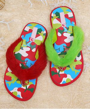 D'chica Contrast Abstract Pattern Faux Fur Detailed Flip Flops - Multi Colour
