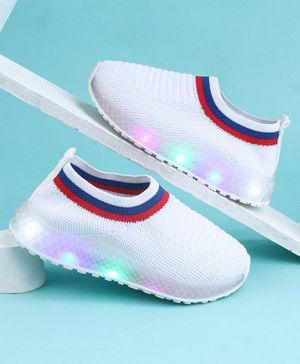 KIDLINGSS Slip-On Style Solid Led Shoes - White