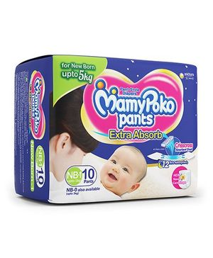 MamyPoko Pant Style Diapers New Born - 10 Pieces(New Born-1, upto 5 Kg)