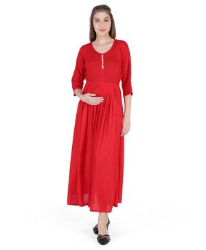 MomToBe Solid Three Fourth Sleeves Maternity & Feeding Dress - Red