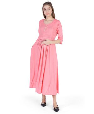 MomToBe Solid Three Fourth Sleeves Maternity & Feeding Dress - Pink