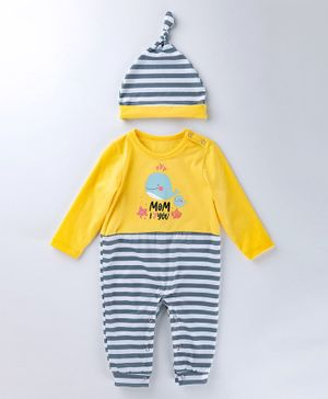 Pre Order - Awabox Whale Print Full Sleeves Romper & Cap Set - Yellow