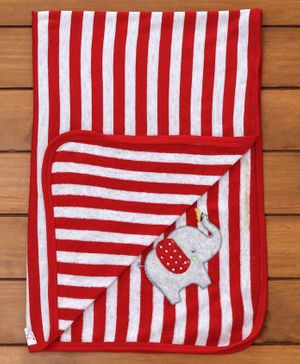 Pink Rabbit Striped Baby Towel Elephant Patch - Red