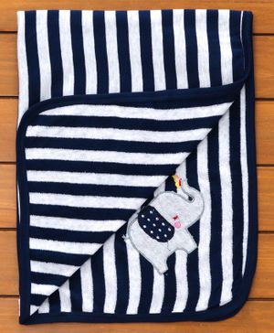 Pink Rabbit Striped Baby Towel Elephant Patch - Navy Blue