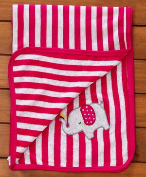 Pink Rabbit Striped Baby Towel Elephant Patch - Dark Pink
