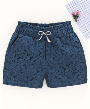 Babyhug Lace Shorts with Drawstring - Navy Blue